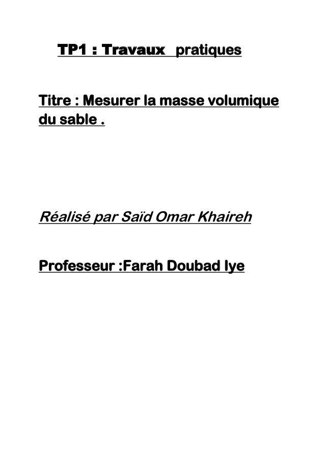 TP1 : Travaux pratiquesTitre : Mesurer la masse volumiquedu sable .Réalisé par Saïd Omar KhairehProfesseur :Farah Doubad Iye