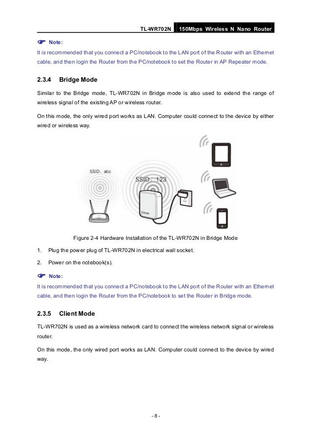 English Manual for Tp link tl-wr702n router