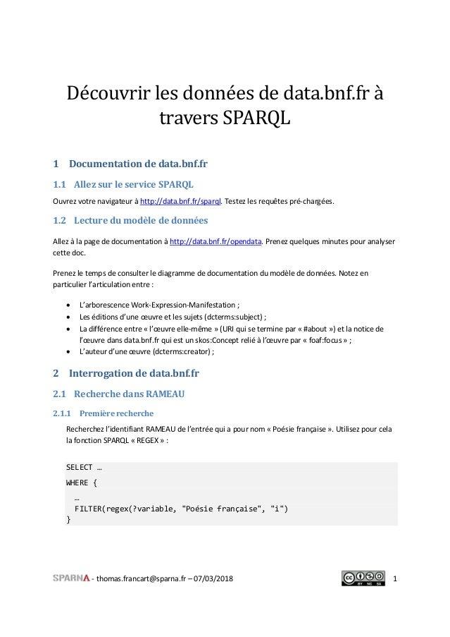 - thomas.francart@sparna.fr – 07/03/2018 1 Découvrir les données de data.bnf.fr à travers SPARQL 1 Documentation de data.b...