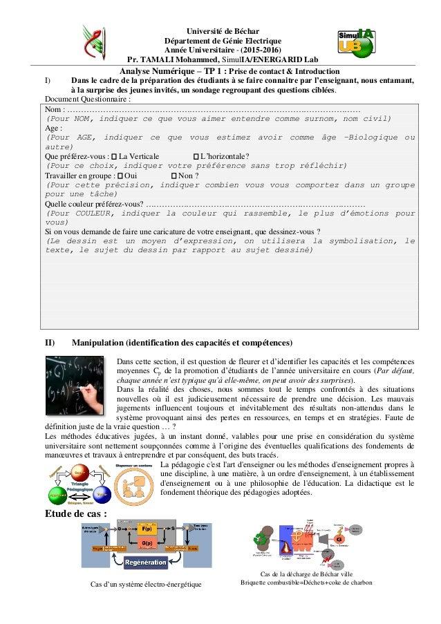 Université de Béchar Département de Génie Electrique Année Universitaire - (2015-2016) Pr. TAMALI Mohammed, SimulIA/ENERGA...