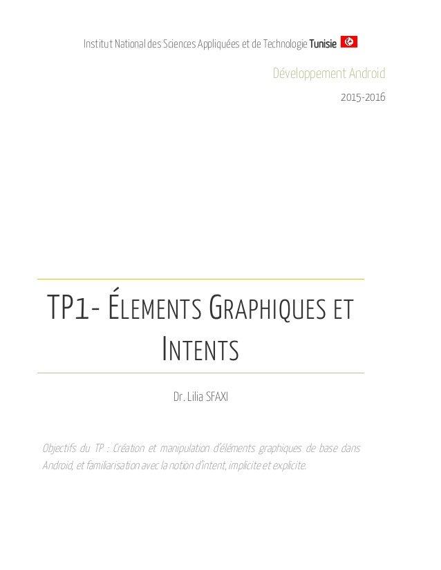 Institut National des Sciences Appliquées et de Technologie Tunisie Développement Android 2015-2016 TP1- ÉLEMENTS GRAPHIQU...