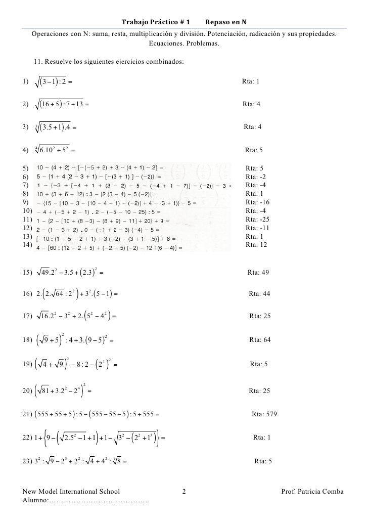 Trabajo Práctico # 1         Repaso en N      Operaciones con N: suma, resta, multiplicación...