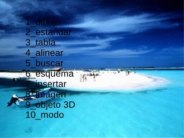 1_dibujo2_estandar3_tabla4_alinear5_buscar6_esquema7_insertar8_imagen9_objeto 3D10_modo