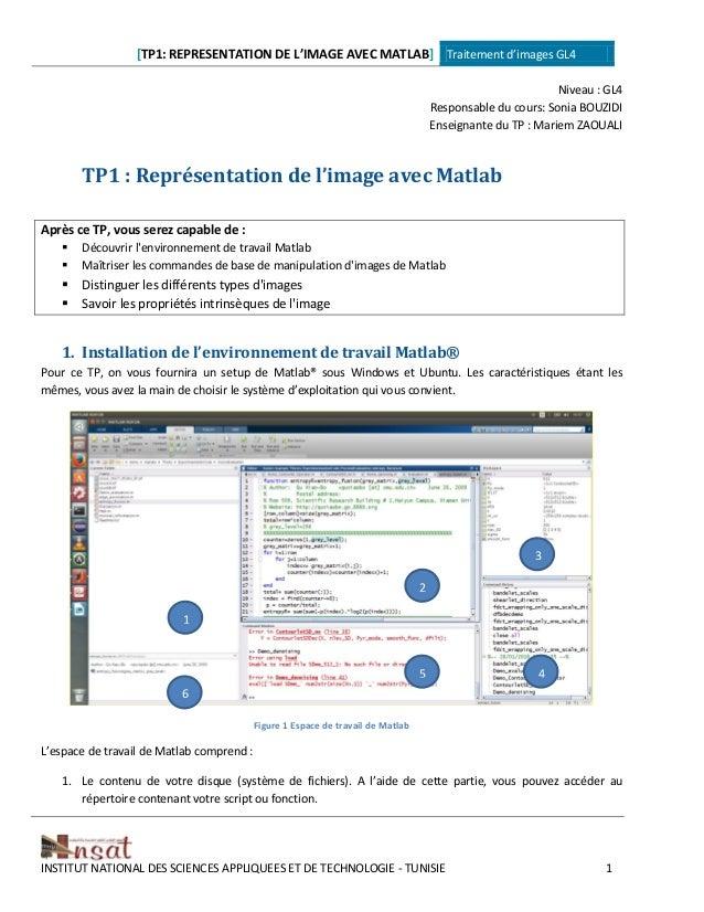 [TP1: REPRESENTATION DE L'IMAGE AVEC MATLAB] Traitement d'images GL4 INSTITUT NATIONAL DES SCIENCES APPLIQUEES ET DE TECHN...