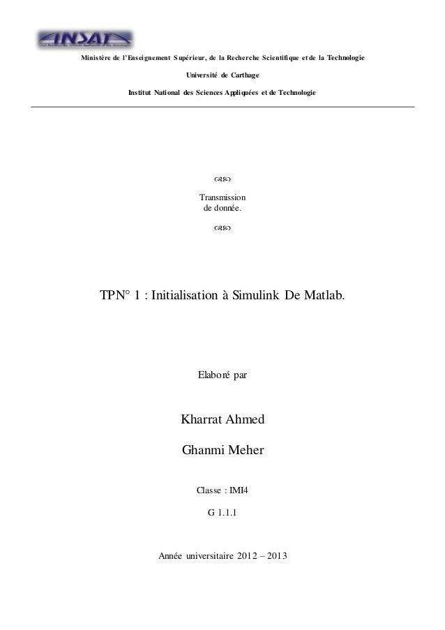 Ministère de l'Enseignement Supérieur, de la Recherche Scientifique et de la Technologie  Université de Carthage  Institut...