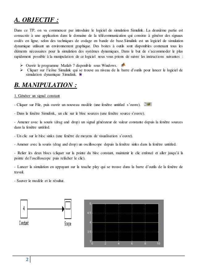 Tp 1 transmission de donné inisiallisation à simulink matlab Slide 2