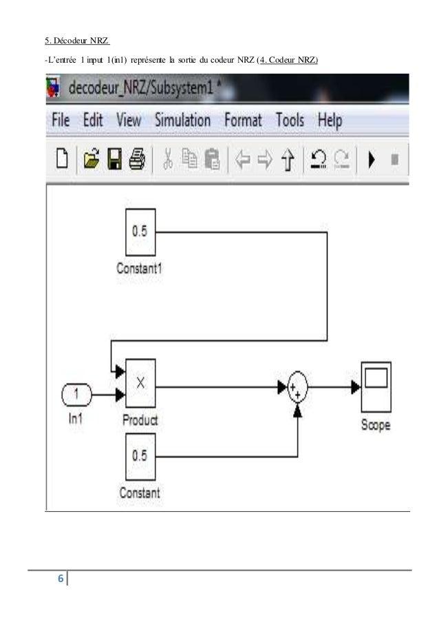 5. Décodeur NRZ  -L'entrée 1 input 1(in1) représente la sortie du codeur NRZ (4. Codeur NRZ)  6