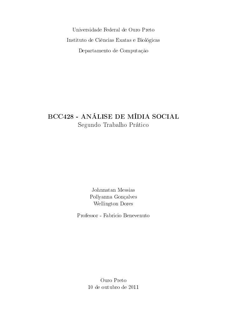 Universidade Federal de Ouro Preto    Instituto de Ciências Exatas e Biológicas         Departamento de ComputaçãoBCC428 -...