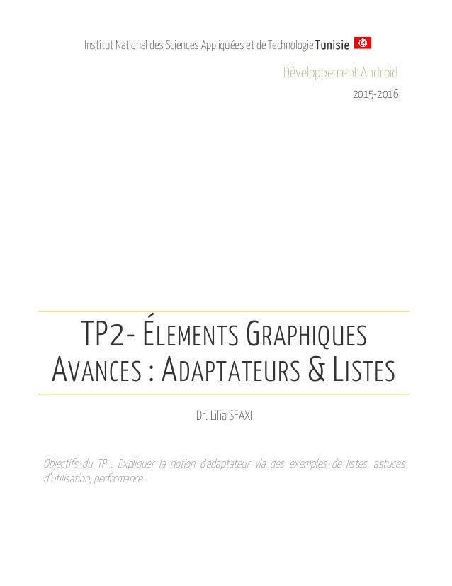 Institut National des Sciences Appliquées et de Technologie Tunisie Développement Android 2015-2016 TP2- ÉLEMENTS GRAPHIQU...