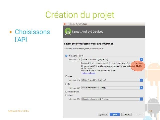 session fev 2016 Yann Caron (c) 2014 14 Création du projet  Choisissons l'API