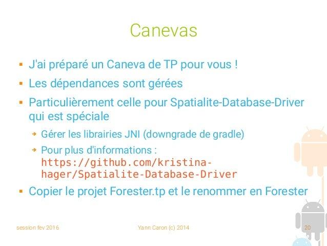 session fev 2016 Yann Caron (c) 2014 20 Canevas  J'ai préparé un Caneva de TP pour vous!  Les dépendances sont gérées ...