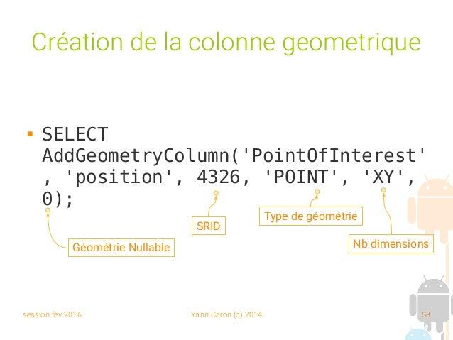 session fev 2016 Yann Caron (c) 2014 53 Création de la colonne geometrique  SELECT AddGeometryColumn('PointOfInterest' , ...