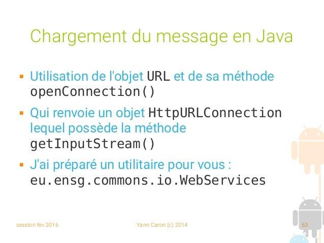 session fev 2016 Yann Caron (c) 2014 63 Chargement du message en Java  Utilisation de l'objet URL et de sa méthode openCo...
