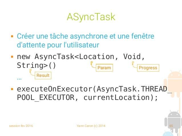 session fev 2016 Yann Caron (c) 2014 65 ASyncTask  Créer une tâche asynchrone et une fenêtre d'attente pour l'utilisateur...