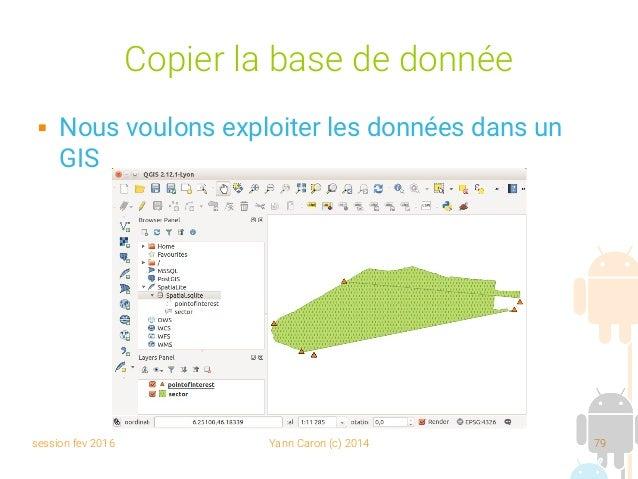 session fev 2016 Yann Caron (c) 2014 79 Copier la base de donnée  Nous voulons exploiter les données dans un GIS