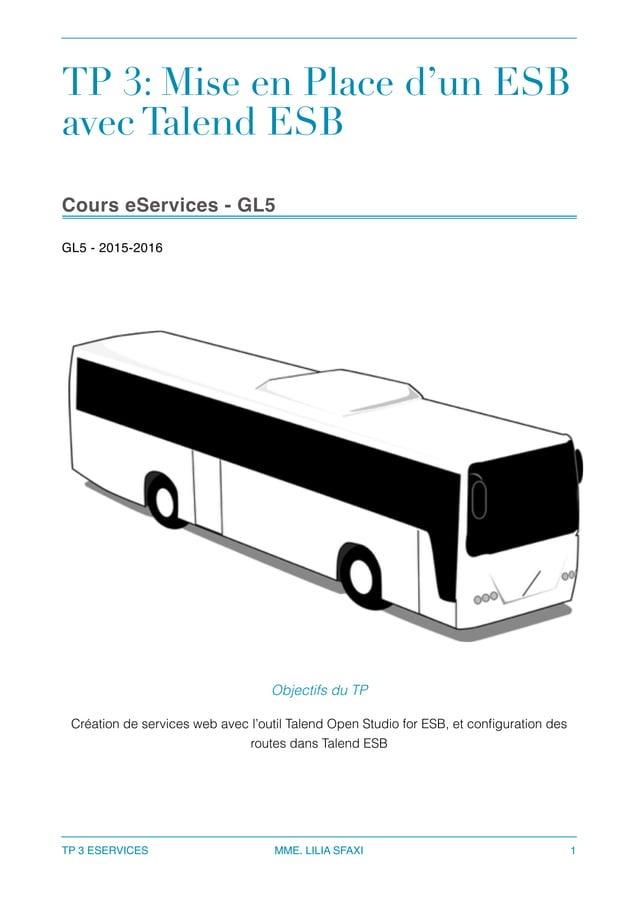 TP 3: Mise en Place d'un ESB avec Talend ESB Cours eServices - GL5 GL5 - 2015-2016  TP 3 ESERVICES MME. LILIA SFAXI 1 Obj...