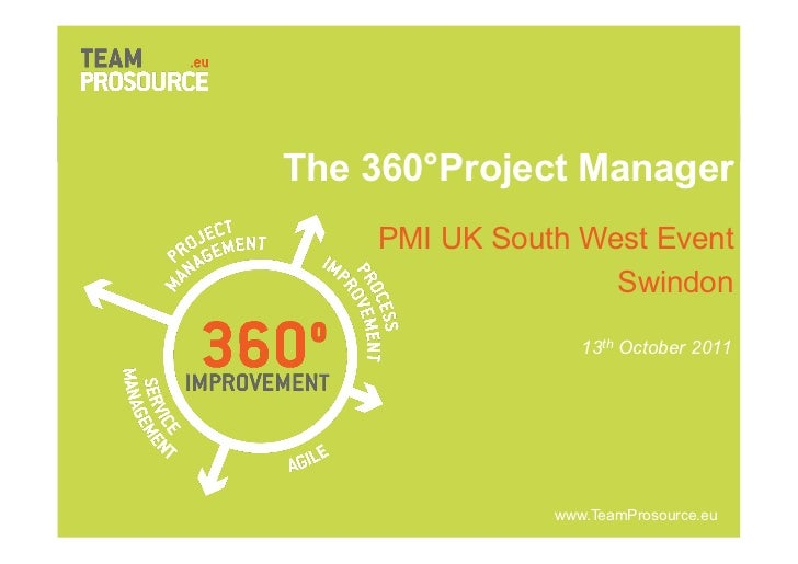 The 360°Project Manager        PMI UK South West Event                       Swindon                            13th Octob...