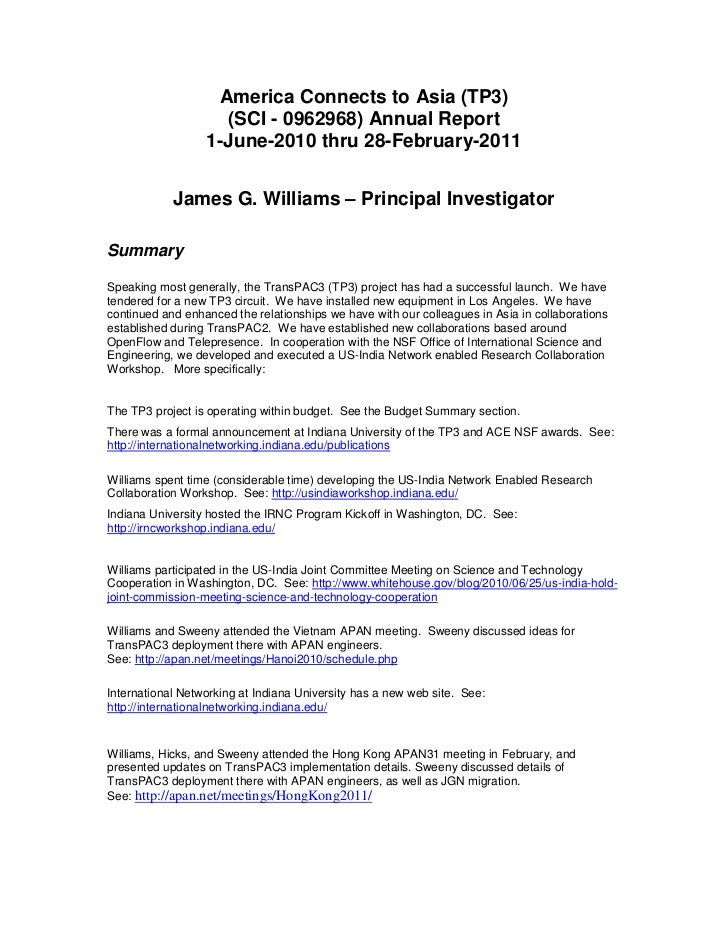 America Connects to Asia (TP3)<br />(SCI - 0962968) Annual Report1-3011-<br />1-June-2010 thru 28-February-2011<br />James...