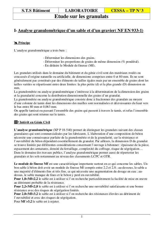 1 S.T.S Bâtiment LABORATOIRE CESSA – TP N°3 Etude sur les granulats I- Analyse granulométrique d'un sable et d'un gravier(...