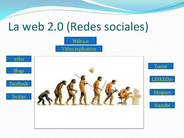 La web 2.0 (Redes sociales) Web 2.0 Video explicativo wikis  Blogs Facebook Twitter  Tuenti LINKEDin Myspace  Youtobe