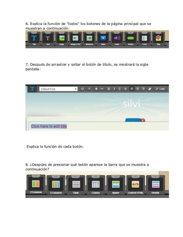 """6. Explica la función de """"todos"""" los botones de la página principal que semuestran a continuación:7. Después de arrastrar ..."""