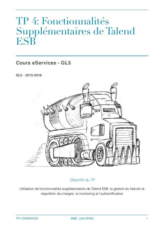 TP 4: Fonctionnalités Supplémentaires de Talend ESB Cours eServices - GL5 GL5 - 2015-2016 TP 4 ESERVICES MME. LILIA SFAXI...