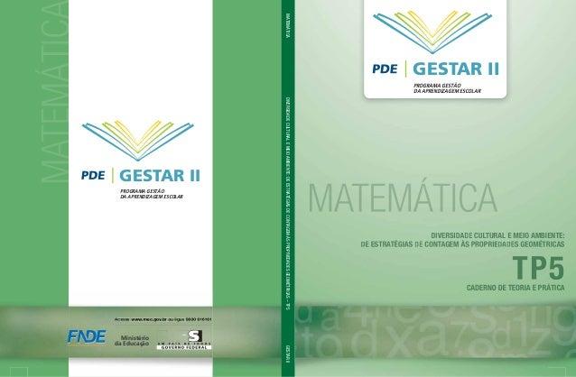 MATEMÁTICGESTAR IIPROGRAMA GESTÃODA APRENDIZAGEM ESCOLARMATEMÁTICADIVERSIDADECULTURALEMEIOAMBIENTE:DEESTRATÉGIASDECONTAGEM...