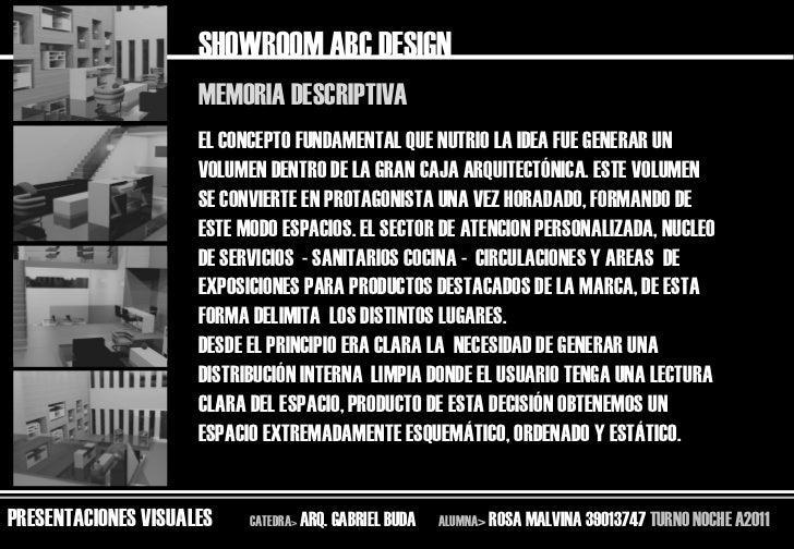 SHOWROOM ABC DESIGN                     MEMORIA DESCRIPTIVA                     EL CONCEPTO FUNDAMENTAL QUE NUTRIO LA IDEA...