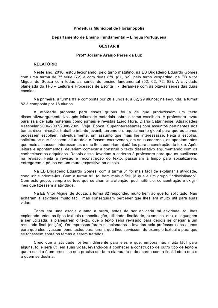 Prefeitura Municipal de Florianópolis                   Departamento de Ensino Fundamental – Língua Portuguesa            ...