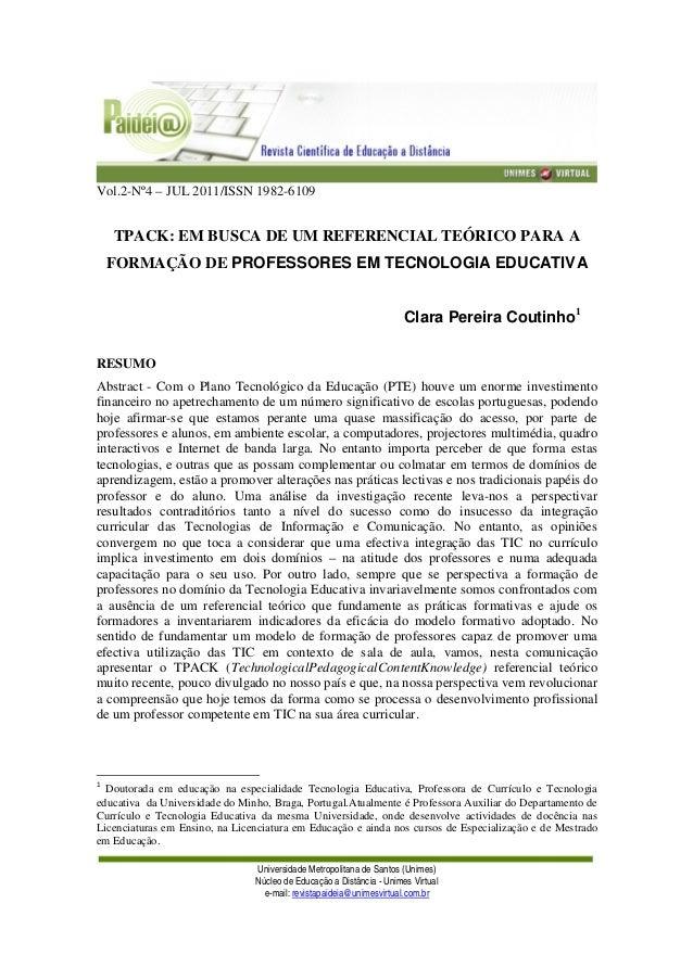 Vol.2-Nº4 – JUL 2011/ISSN 1982-6109 Universidade Metropolitana de Santos (Unimes) Núcleo de Educação a Distância - Unimes ...