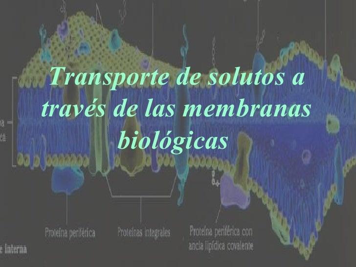 Transporte de solutos a través de las membranas biológicas