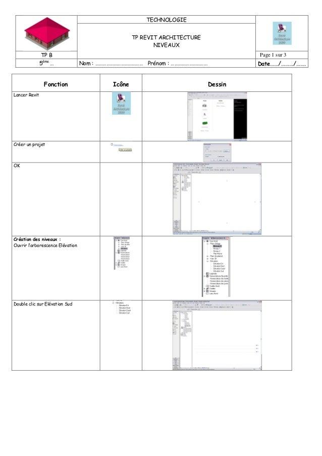 TECHNOLOGIE TP REVIT ARCHITECTURE NIVEAUX TP B Page 1 sur 3 5ème … Nom : ………………………………… Prénom : ………………………… Date……/………/……. ...