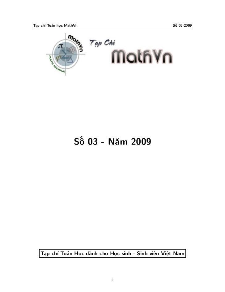 Tạp chí Toán học MathVn                              Số 03-2009                     Số 03 - Năm 2009   Tạp chí Toán Học dà...