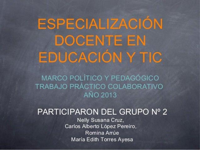 ESPECIALIZACIÓN DOCENTE EN EDUCACIÓN Y TIC MARCO POLÍTICO Y PEDAGÓGICO TRABAJO PRÁCTICO COLABORATIVO AÑO 2013 PARTICIPARON...