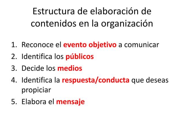 Estructura de elaboración de contenidos en la organización 1. Reconoce el evento objetivo a comunicar 2. Identifica los pú...