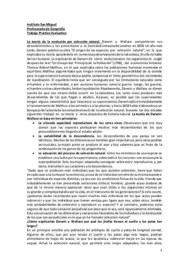 1 Instituto San Miguel Profesorado de Geografía Trabajo Practico Evaluativo La teoría de la evolución por selección natura...