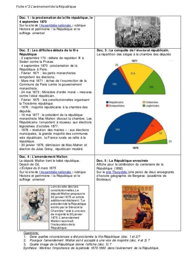 Fiche n°2 L'avènementde laRépublique Doc. 1 : la proclamation de la IIIe république, le 4 septembre 1870 Sur le site de l'...