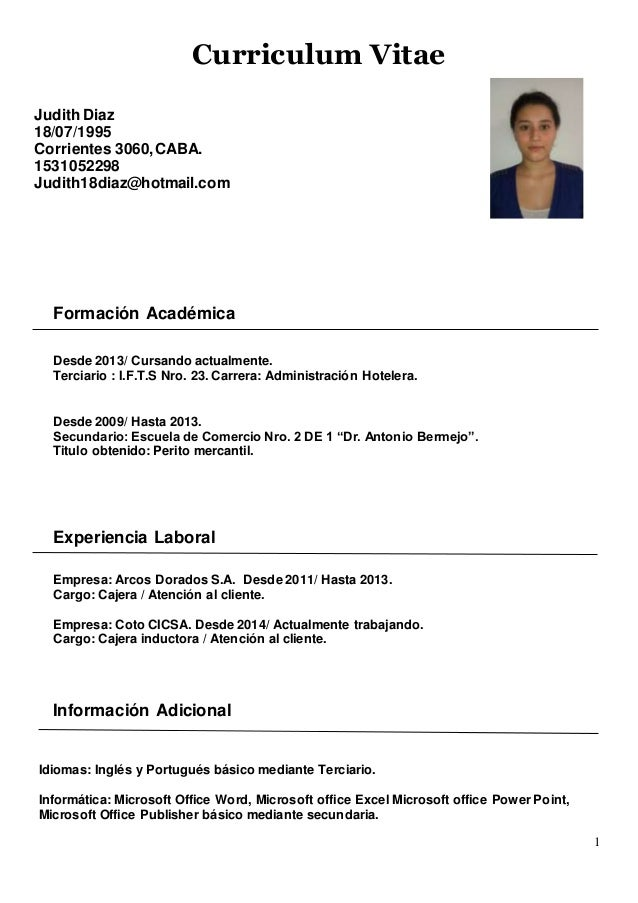 Curriculum vitae primer empleo ejemplos. writing academic papers