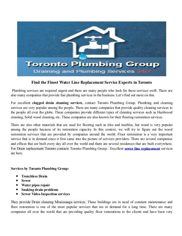 Find the Finest Water Line Replacement Service Experts in Toronto Plumbing services are required urgent and there are many...