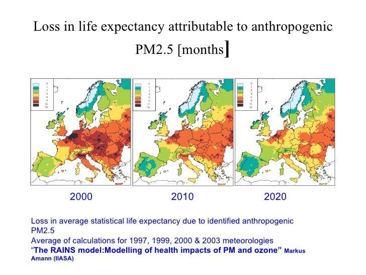Loss in life expectancy attributable to anthropogenic PM2.5 [months ] Loss in average statistical life expectancy due to i...