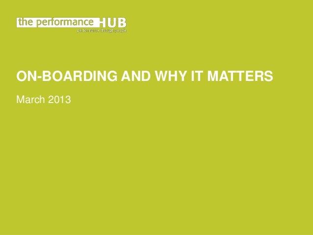 On-Boarding and why it matters