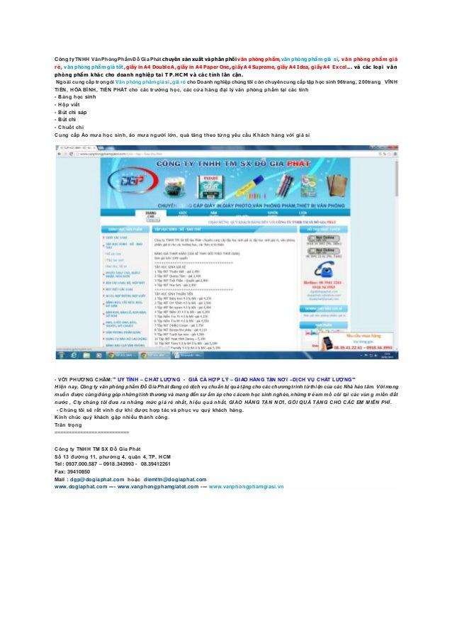 Công ty TNHH Văn Phòng PhẩmĐỗ Gia Phát chuyên sản xuất và phân phối văn phòngphẩm,văn phòng phẩm giá sỉ, văn phòng phẩm gi...