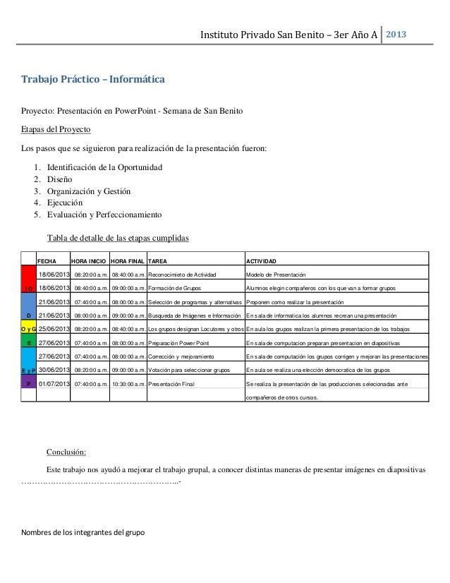 Instituto Privado San Benito – 3er Año A 2013 Nombres de los integrantes del grupo Trabajo Práctico – Informática Proyecto...