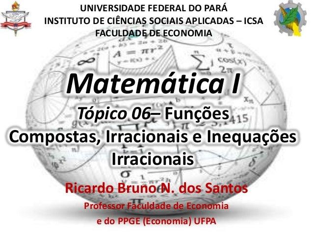 Matemática ITópico 06– FunçõesCompostas, Irracionais e InequaçõesIrracionaisRicardo Bruno N. dos SantosProfessor Faculdade...