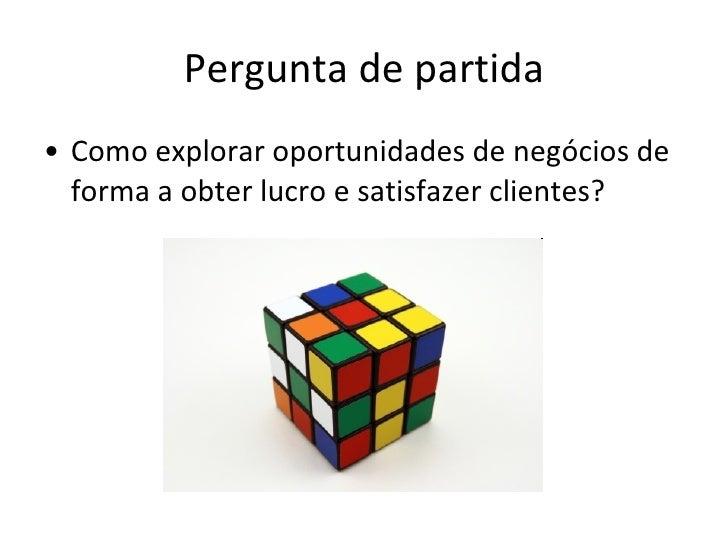 Pergunta de partida <ul><li>Como explorar oportunidades de negócios de forma a obter lucro e satisfazer clientes? </li></ul>