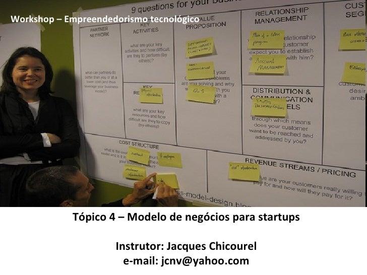Tópico 4 – Modelo de negócios para startups Instrutor: Jacques Chicourel e-mail: jcnv@yahoo.com Workshop – Empreendedorism...