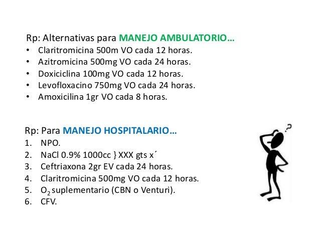 Rp: Alternativas para MANEJO AMBULATORIO…  • Claritromicina 500m VO cada 12 horas.  • Azitromicina 500mg VO cada 24 horas....