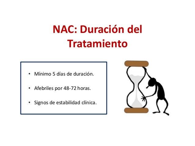 NAC: Duración del  Tratamiento  • Mínimo 5 días de duración.  • Afebriles por 48-72 horas.  • Signos de estabilidad clínic...