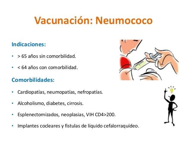 Vacunación: Neumococo  Indicaciones:  • > 65 años sin comorbilidad.  • < 64 años con comorbilidad.  Comorbilidades:  • Car...