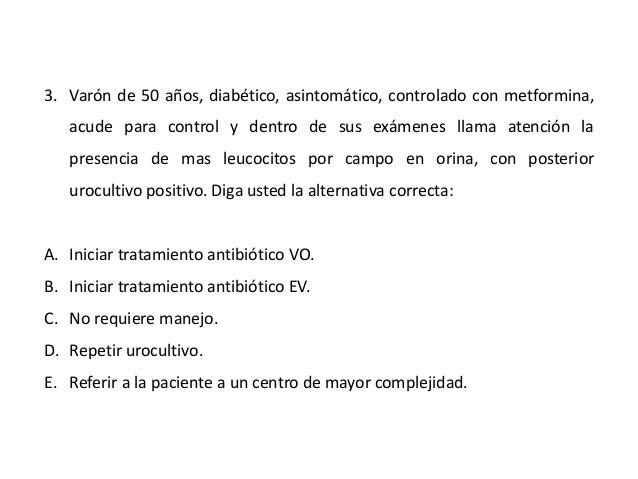 3. Varón de 50 años, diabético, asintomático, controlado con metformina,  acude para control y dentro de sus exámenes llam...
